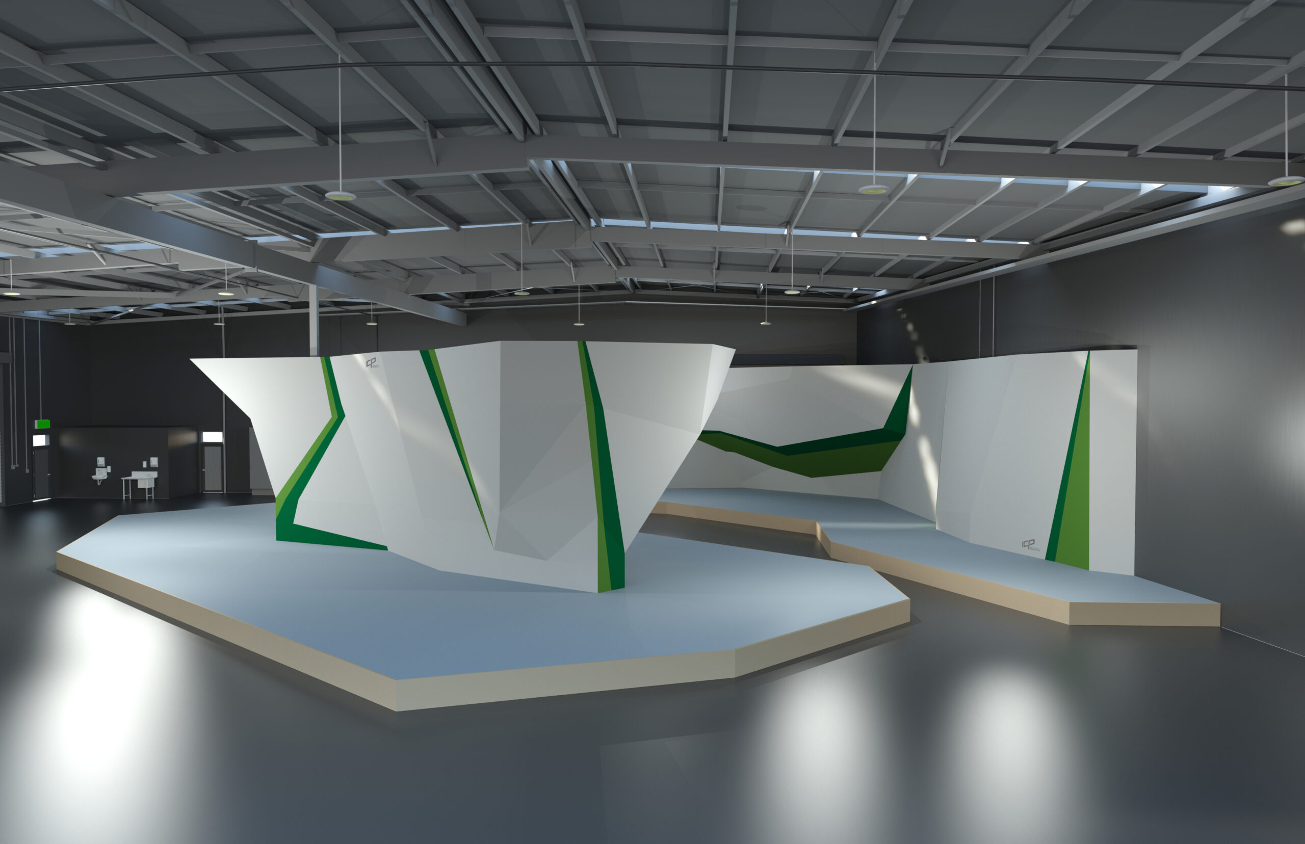 flow climbing walls designed by ICP, shows a great view of bouldering cave and free standing island.