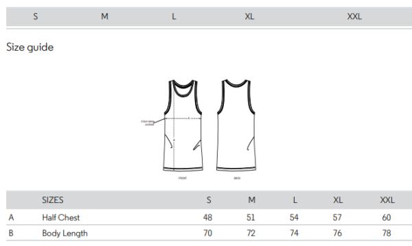 singlet size chart M